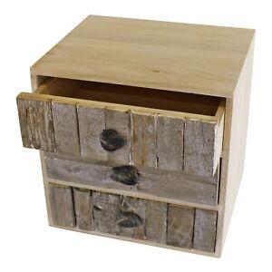 3 Drawers Wooden Storage Unit Driftwood Effect Pebble Handles Cabinet Organiser