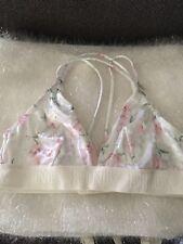 NEW Victoria's Secret PINK Velvet Triangle Bralette White Floral M