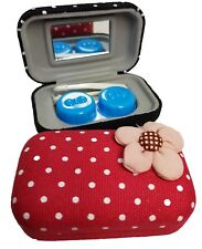 Fabric Flower Coloured Contact Lens Lenses Travel Kit Mirror Case Tweezers Red