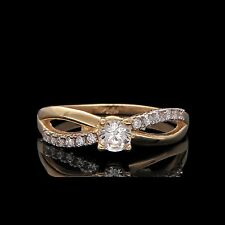 1/4ct Created Diamond Infinity Engagement Ring 14K Yellow Gold Fancy Design Band