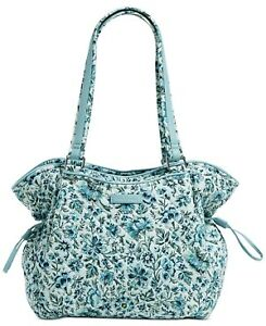 Vera Bradley Womens Glenna Satchel Handbag Ivory Floral Faux Leather Trim M