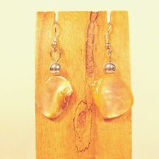 "1"" Golden Orange Color Mother of Pearl Shell Handmade Drop Dangle Earring"