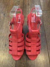 UK 5 h&m Rouge en Daim Synthétique CAGE Wedges Chaussures été/vacances/Towie/Clubbing/Boho NEUF