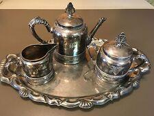 ANTIQUE SILVER QUADRUPLE PLATE 4 PIECE TEA SET  PAIRPOINT MFG. PATTERN #306