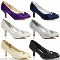 WOMENS BRIDAL SHOES LADIES WEDDING BRIDESMAID STILETTO LOW KITTEN MID SATIN HEEL