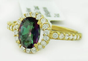 MYSTIC TOPAZ 0.76 Cts & WHITE SAPPHIRES COCKTAIL RING .925 Silver * New With Tag
