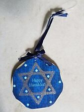 Wooden Happy Hanukkah Jewish Star Of David Christmas Tree Ornament