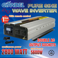 Large Shell Pure Sine Wave Power Inverter 2800W/5600W 12V-240V+Remote Control