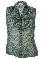 Tahari Women's Collared Sleeveless Ruffle Blouse (PM, Grey/Turquoise)