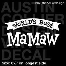 "6.5"" WORLD'S BEST MAMAW vinyl decal car window laptop sticker - grandma mom gift"