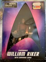 ART ASYLUM DIAMOND SELECT FYE STAR TREK TNG RIKER FIGURE W/COMMAND CHAIR MIB