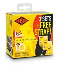 Rotosound R10 3x Sets + FREE Strap - Nickel Electric Guitar Strings R10-31-F