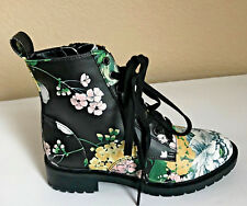 Steve Madden Officer Combat Boots Womens 5.5 Floral High Top Laced NEW $99 CUTE!
