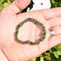 CHARGED Rare Dark Green Apatite Crystal Stretchy Bracelet + Selenite Puffy Heart