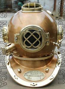 """NEW Morse US Navy Mark V Diving Divers Helmet Steel & Brass Full Size 18"""""""
