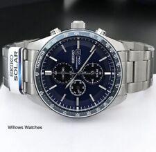 Seiko Solar SSC719P1 Men's 100m Blue Dial Chronograph Watch Brand New