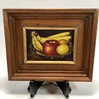 Wood Framed Painting Canvas Fruit Wine Fruit Bowl Bananas 11 X 9 Inches