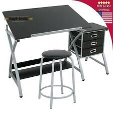 Table Drawing Drafting Adjustable Desk Art Craft Hobby Board Station Stool Work
