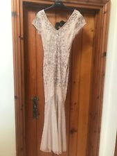 Miss Selfridge Nude/gold Size 10 Fitted Stunning Long Dress /Ball Gown Sequined
