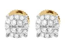 Real Diamond Ladies 10K Yellow Gold Pave Diamond Round Stud Earrings 0.40ct 6MM