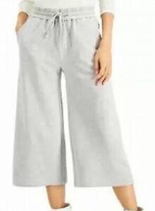 INC Womens Pants Gray Size Small S Sweatpants Wide-Leg Cropped Hi-Rise $69 532