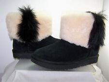 UGG Classic Mini Wisp Black Suede Fur Boots S/N 1101039  Womens Size 7 NEW!