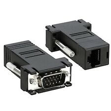 2pcs PC TO TV ADAPTOR VGA OVER CAT5 VIDEO VIA ETHERNET CABLE RJ45 to 120 ft 36 m