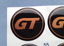 (GT55SO) 4x GT Embleme für Nabenkappen Felgendeckel 55mm Silikon Aufkleber