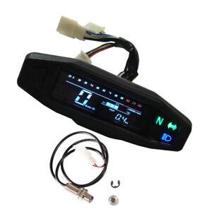 Motorcycle LCD Digital Speedometer Odometer + Sensor Max Speed 199km/h Universal