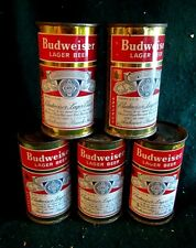 Lot Of 5 Flat Top Budweiser Lager Beer 12 Oz Empty Cans