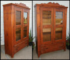 Primitive Plank Pine Dish Cupboard Pantry Bookcase Chamfered Dovetailed Joinery