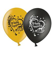 "Engagement - Heart - 12"" Wedding Black & Gold Latex Balloons pack of 25"