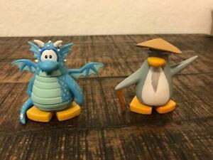 Genuine Disney Jakks Club Penguin Blue Dragon Mix & Sensei PVC Collectible