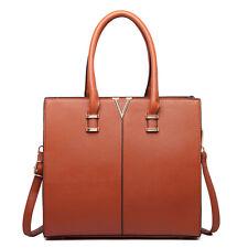 Women Designer PU Leather Two Colour Contrast Shoulder Satchel Handbag Tote Bag