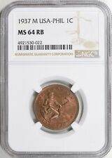 1937 M NGC MS64 RB US Philippines One Centavo Uncirculated MS64RB Red Brown