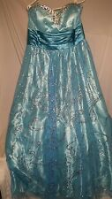 NWT Masquerade Prom Dress Womens Size 22 Aqua Sparkly Embelished Gown $179.00