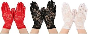 Ladies Short Lace Gloves in Black Red White 80s Fancy Dress Gothic Halloween