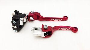 ASV F3 Red Front Brake + Clutch Levers Perch Hot Start Honda CRF XR Universal