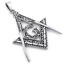 Pour Hommes Collier Pendentif Symbole de la Franc-Maçonnerie Vintage Argent