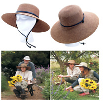 Women Summer Wide Brim Braided Sun Hat Maximum UV Protection Dark Brown UPF50