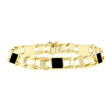 "Men's 14k Yellow Gold Inlaid Square Black Onyx 8.5"" Railroad Link Chain Bracelet"