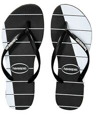 NWT Havaianas Slim Trio Stripes Black & White Flip Flop Shoes Top Logo sz 9/10