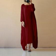 UK 8-26 Women Cotton Linen Maxi Dress Long Sleeve Casual Boho Kaftan Basic Tunic Red 2xl