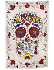 Handmade Cotton 3D Sugar Skull Tapestry Day of Dead Beach Sheet Wall Art 60x90