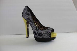 Betsey Johnson Womens Shoe Size 7.5 M Satin Lace Black Platform Pump Heel Sandal