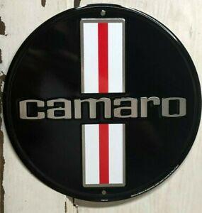 "CHEVROLET CAMARO 12"" ROUND METAL SIGN AUTOMOTIVE CAR GAS OIL LICENCE"
