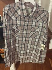 Guess vintage mauve, gray and white check collared long sleeve shirt- size L