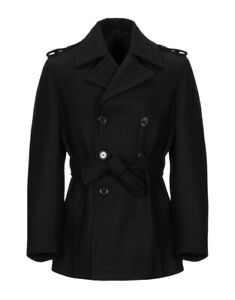 Men Classic Wool Trench Coat Black Double Breasted Blazer Gothic Pea Jacket