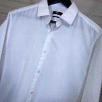 Hugo Boss Marley US 100% Cotton White Dress Shirt Sharp Fit Men's 16.5 36/37