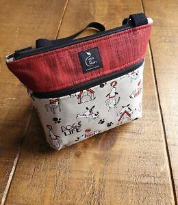 Cross body bag - Dog print design with zipped outer pocket. Handmade.